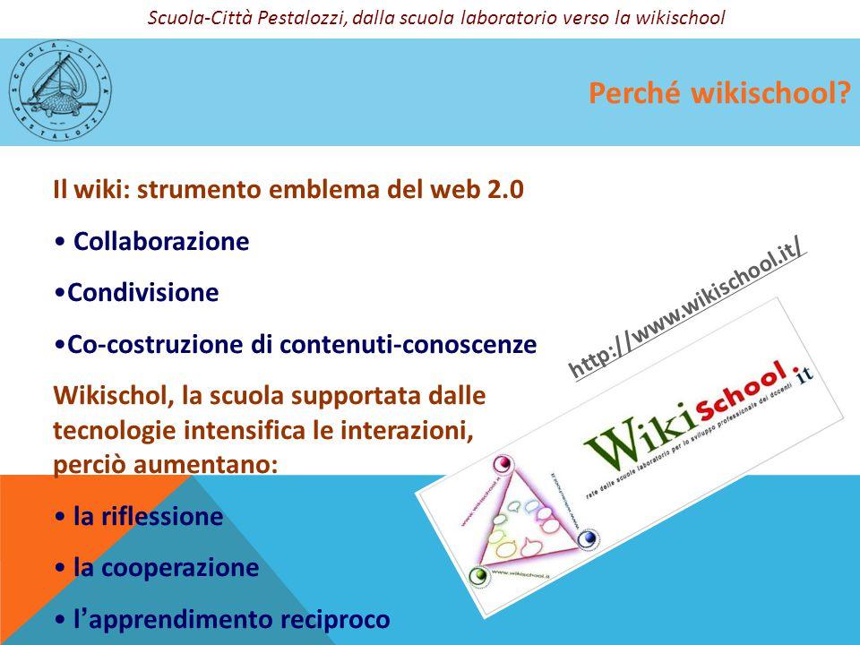 Perché wikischool? Il wiki: strumento emblema del web 2.0 Collaborazione Condivisione Co-costruzione di contenuti-conoscenze Wikischol, la scuola supp