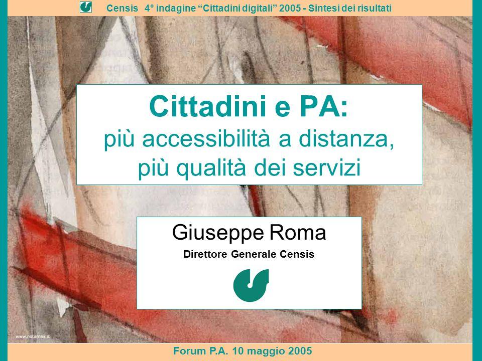 """Censis 4° indagine """"Cittadini digitali"""" 2005 - Sintesi dei risultati Forum P.A. 10 maggio 2005 Cittadini e PA: più accessibilità a distanza, più quali"""