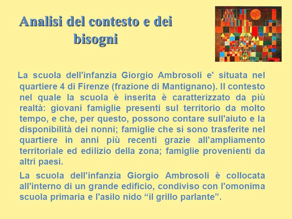 Analisi del contesto e dei bisogni La scuola dell'infanzia Giorgio Ambrosoli e' situata nel quartiere 4 di Firenze (frazione di Mantignano). Il contes