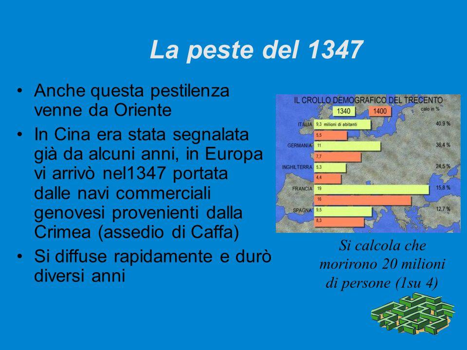 La peste del 1347 Anche questa pestilenza venne da Oriente In Cina era stata segnalata già da alcuni anni, in Europa vi arrivò nel1347 portata dalle n