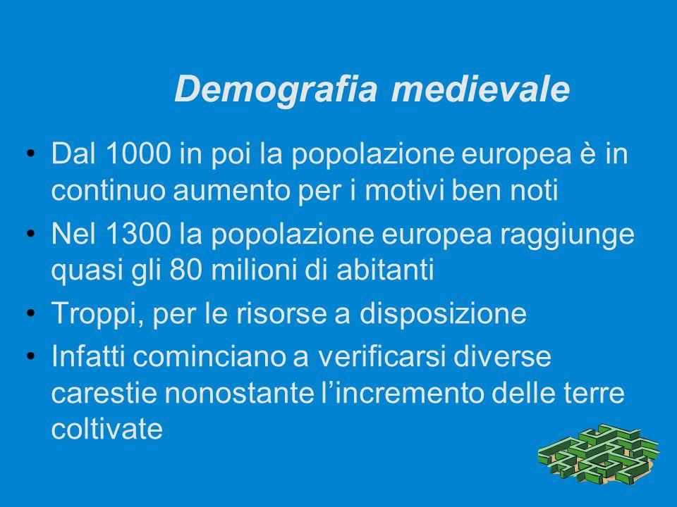 Demografia medievale Dal 1000 in poi la popolazione europea è in continuo aumento per i motivi ben noti Nel 1300 la popolazione europea raggiunge quas