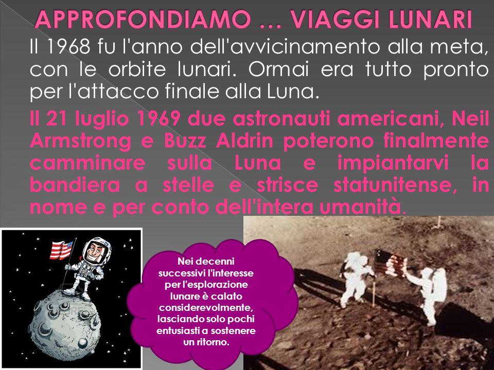 Il 1968 fu l'anno dell'avvicinamento alla meta, con le orbite lunari. Ormai era tutto pronto per l'attacco finale alla Luna. Il 21 luglio 1969 due ast