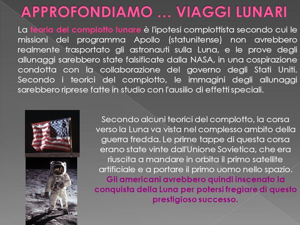 La teoria del complotto lunare è l'ipotesi complottista secondo cui le missioni del programma Apollo (statunitense) non avrebbero realmente trasportat