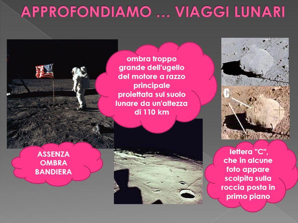 ASSENZA OMBRA BANDIERA ombra troppo grande dell'ugello del motore a razzo principale proiettata sul suolo lunare da un'altezza di 110 km lettera