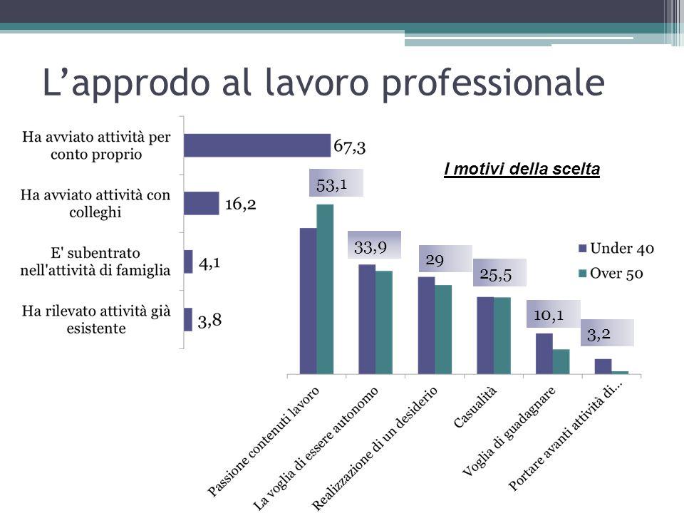 L'approdo al lavoro professionale 53,1 33,9 29 25,5 10,1 3,2 I motivi della scelta