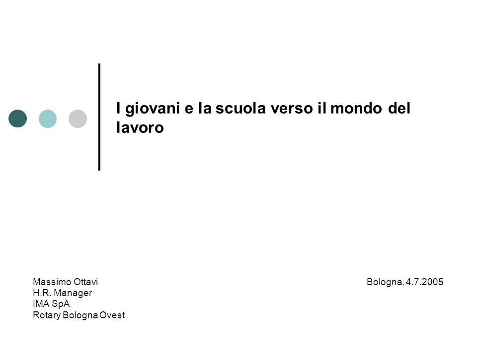 I giovani e la scuola verso il mondo del lavoro Massimo OttaviBologna, 4.7.2005 H.R. Manager IMA SpA Rotary Bologna Ovest