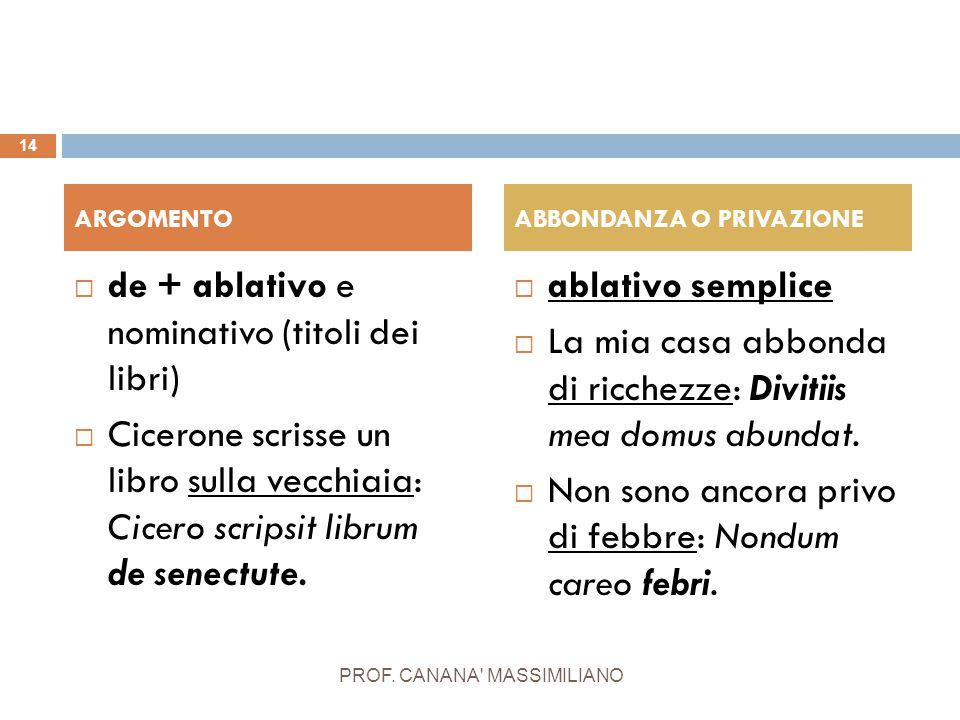  de + ablativo e nominativo (titoli dei libri)  Cicerone scrisse un libro sulla vecchiaia: Cicero scripsit librum de senectute.  ablativo semplice