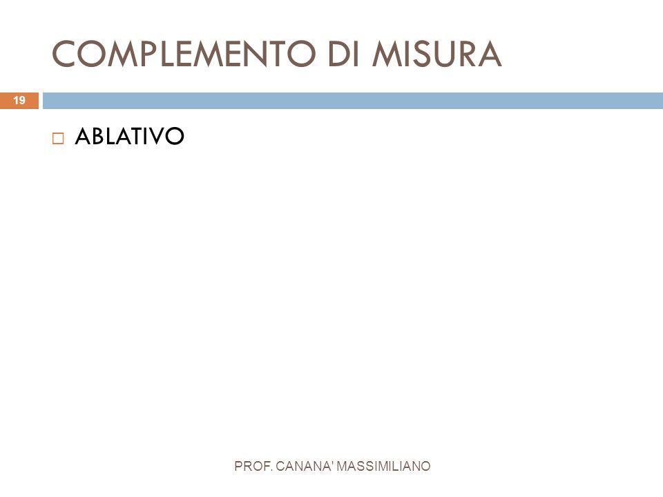 COMPLEMENTO DI MISURA PROF. CANANA' MASSIMILIANO 19  ABLATIVO