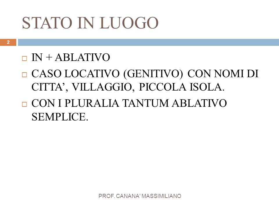 STATO IN LUOGO PROF. CANANA' MASSIMILIANO 2  IN + ABLATIVO  CASO LOCATIVO (GENITIVO) CON NOMI DI CITTA', VILLAGGIO, PICCOLA ISOLA.  CON I PLURALIA