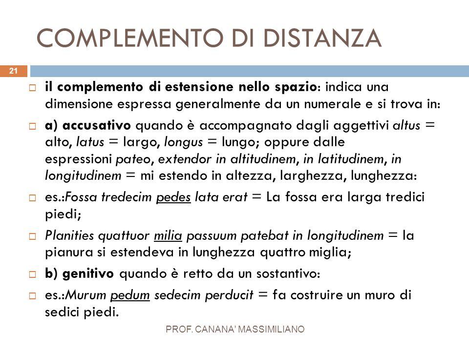 COMPLEMENTO DI DISTANZA PROF. CANANA' MASSIMILIANO 21  il complemento di estensione nello spazio: indica una dimensione espressa generalmente da un n