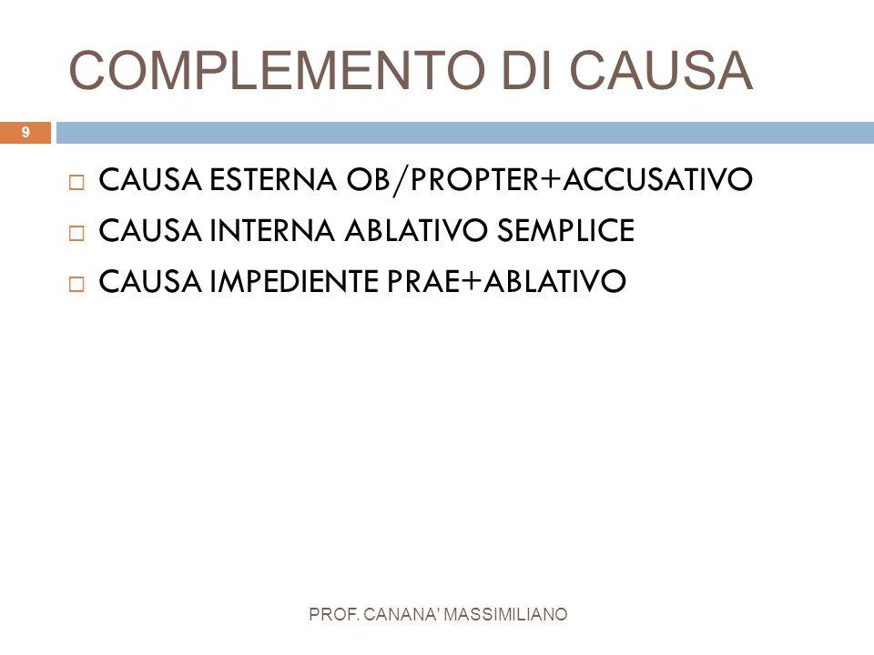 COMPLEMENTO DI CAUSA PROF. CANANA' MASSIMILIANO 9  CAUSA ESTERNA OB/PROPTER+ACCUSATIVO  CAUSA INTERNA ABLATIVO SEMPLICE  CAUSA IMPEDIENTE PRAE+ABLA