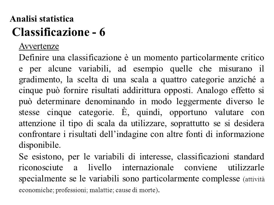 Classificazione - 6 Analisi statistica Avvertenze Definire una classificazione è un momento particolarmente critico e per alcune variabili, ad esempio