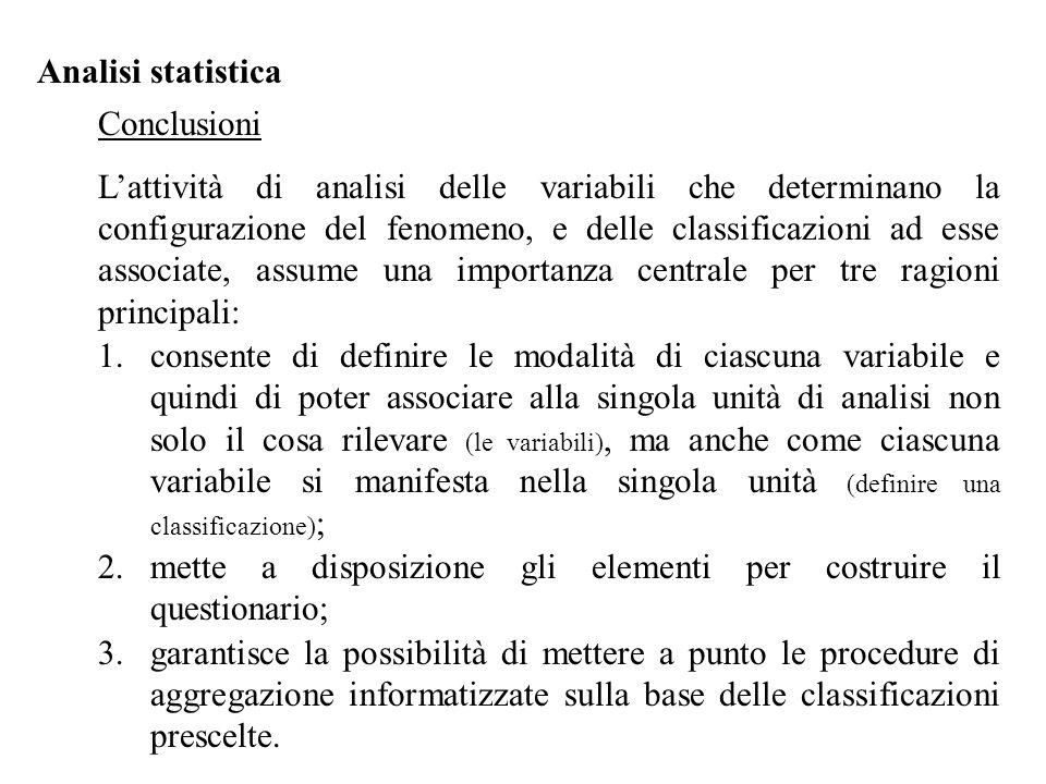 Analisi statistica Conclusioni L'attività di analisi delle variabili che determinano la configurazione del fenomeno, e delle classificazioni ad esse a