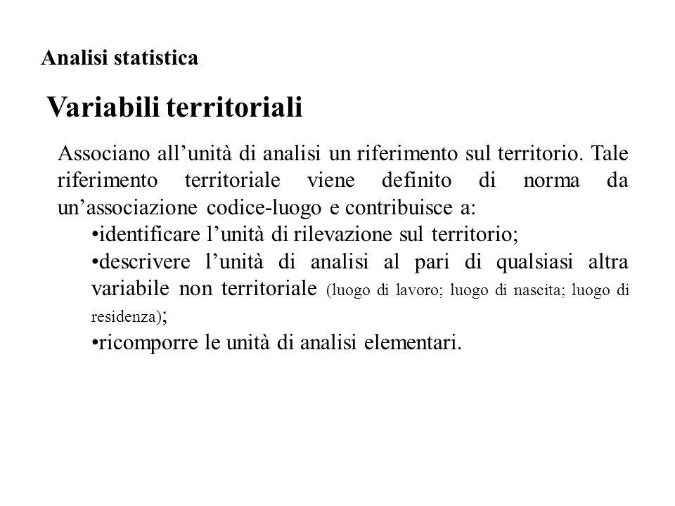 Associano all'unità di analisi un riferimento sul territorio. Tale riferimento territoriale viene definito di norma da un'associazione codice-luogo e