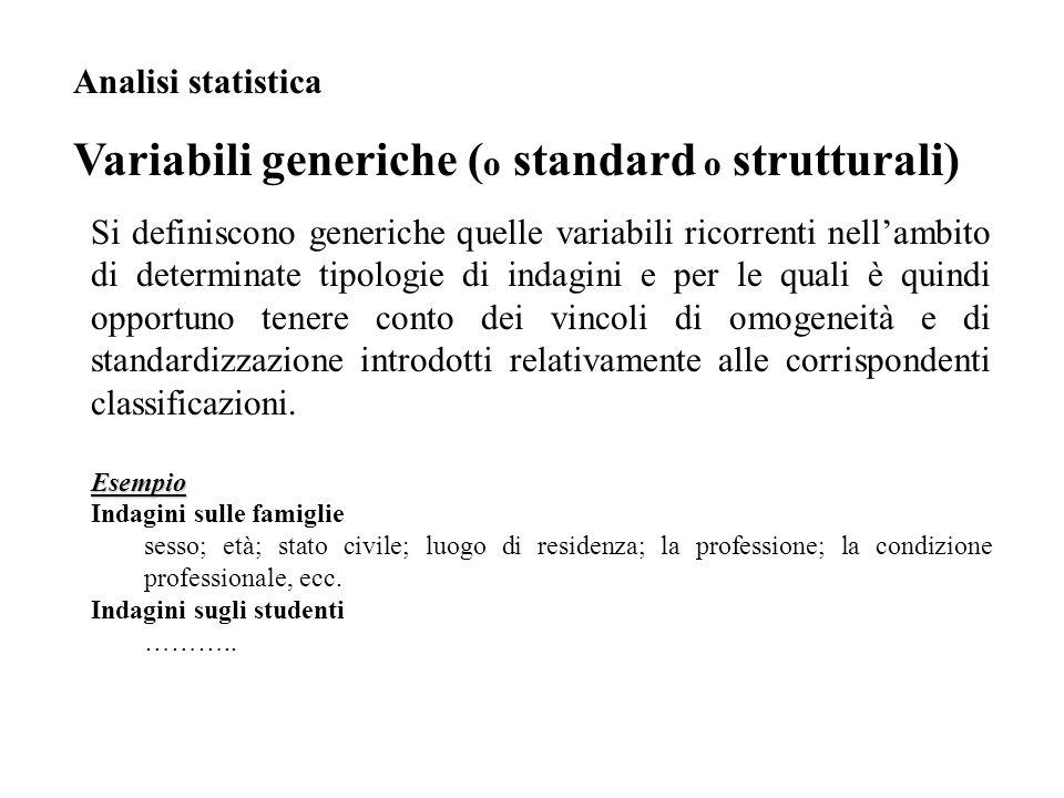 Si definiscono generiche quelle variabili ricorrenti nell'ambito di determinate tipologie di indagini e per le quali è quindi opportuno tenere conto d