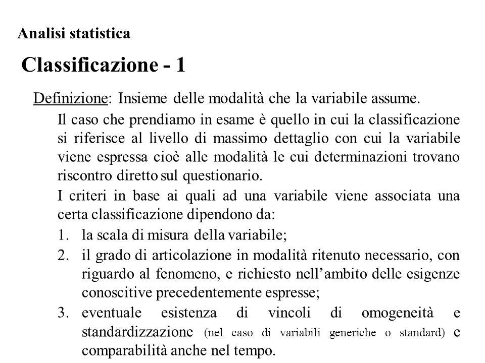 Classificazione - 1 Analisi statistica Definizione: Insieme delle modalità che la variabile assume. Il caso che prendiamo in esame è quello in cui la