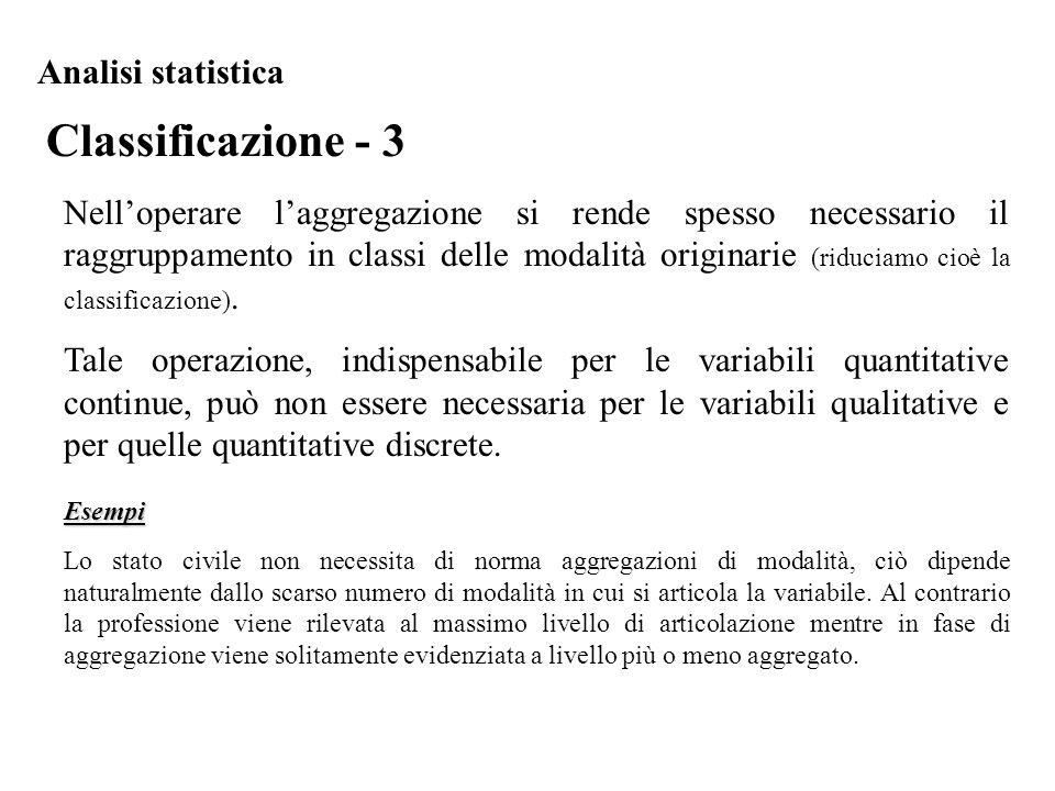 Classificazione - 3 Analisi statistica Nell'operare l'aggregazione si rende spesso necessario il raggruppamento in classi delle modalità originarie (r
