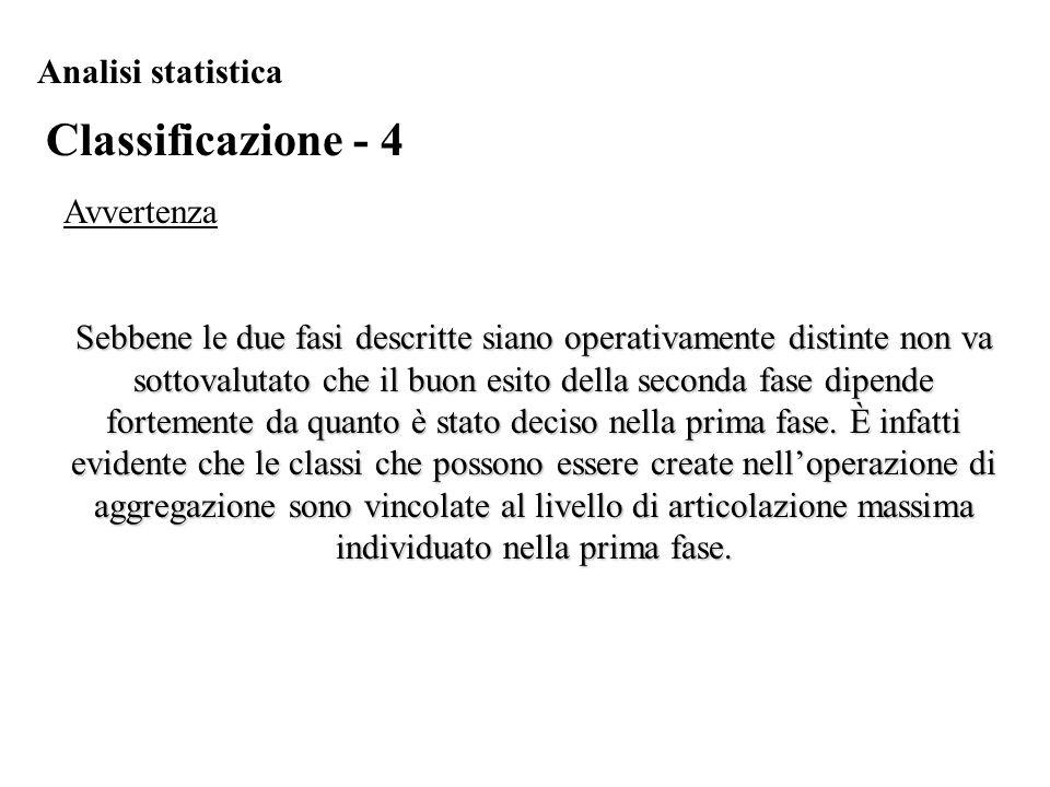 Classificazione - 4 Analisi statistica Avvertenza Sebbene le due fasi descritte siano operativamente distinte non va sottovalutato che il buon esito d