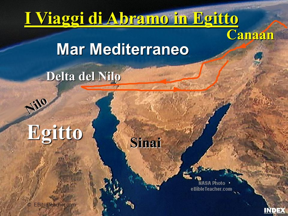 Egitto Nilo Delta del Nilo Mar Mediterraneo Sinai Canaan © EBibleTeacher.com I Viaggi di Abramo in Egitto Abraham's Journey to Egypt INDEX