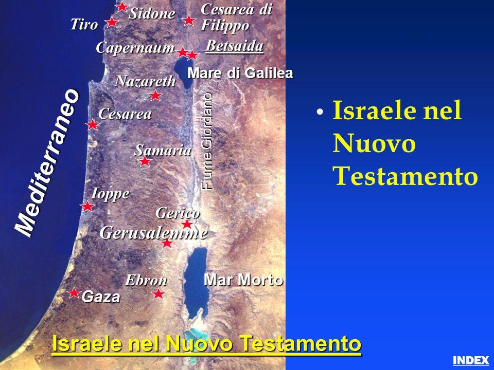 Israele nel Nuovo Testamento Betsaida Nazareth Cesarea Samaria Ioppe Gerico Gerusalemme Ebron Gaza Mare di Galilea Mar Morto Fiume Giordano Mediterran
