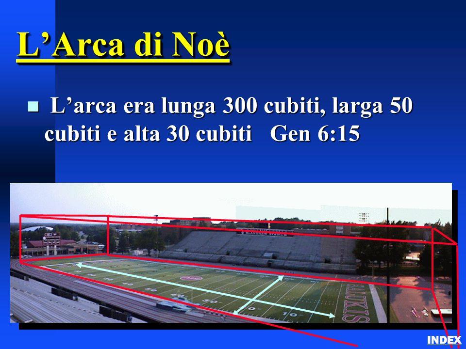L'Arca di Noè n L'arca era lunga 300 cubiti, larga 50 cubiti e alta 30 cubiti Gen 6:15 INDEX
