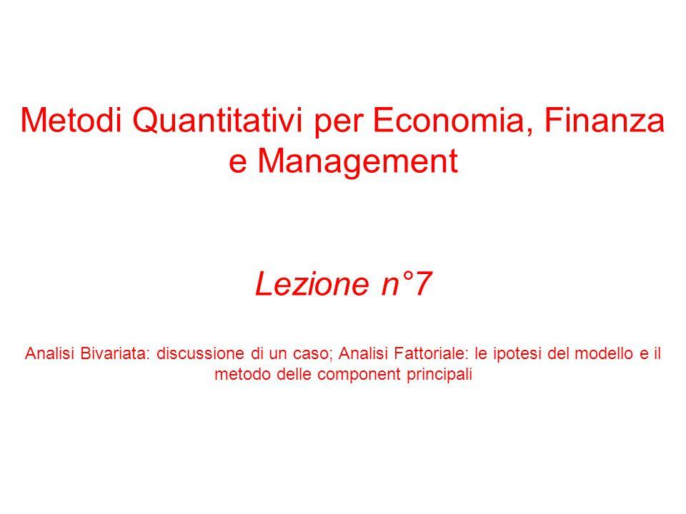 Metodi Quantitativi per Economia, Finanza e Management Lezione n°7 Analisi Bivariata: discussione di un caso; Analisi Fattoriale: le ipotesi del model