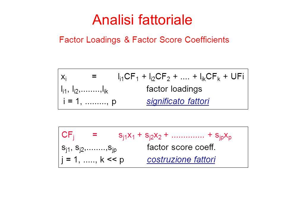 Analisi fattoriale Factor Loadings & Factor Score Coefficients x i = l i1 CF 1 + l i2 CF 2 +.... + l ik CF k + UFi l i1, l i2,........,l ik factor loa