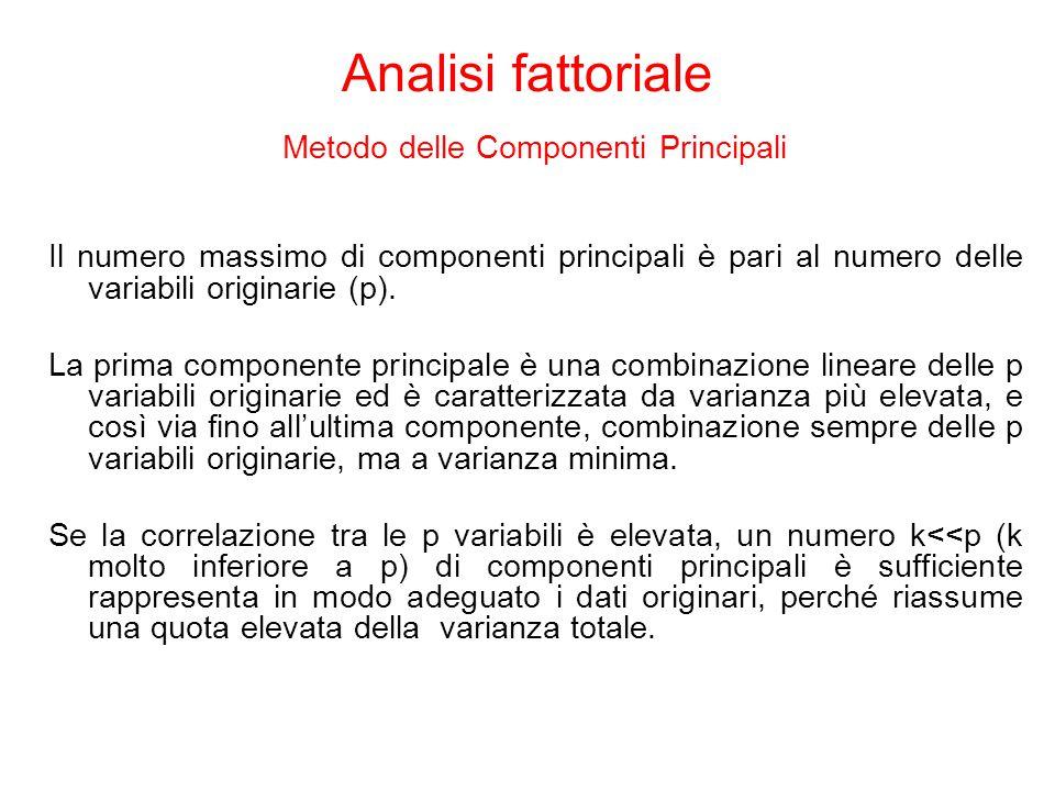 Il numero massimo di componenti principali è pari al numero delle variabili originarie (p). La prima componente principale è una combinazione lineare