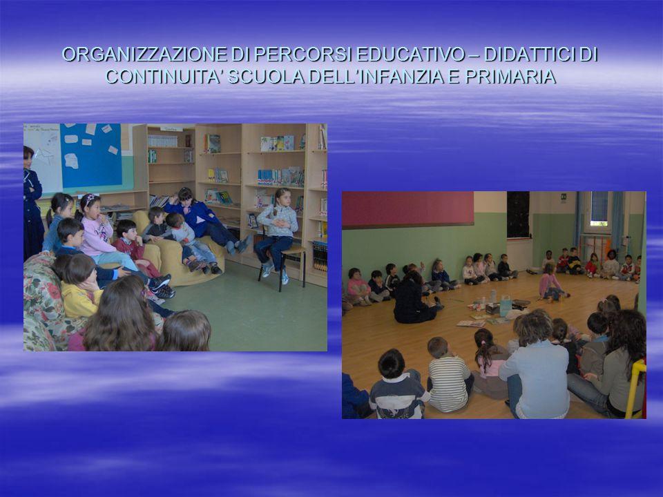 ORGANIZZAZIONE DI PERCORSI EDUCATIVO – DIDATTICI DI CONTINUITA' SCUOLA DELL'INFANZIA E PRIMARIA