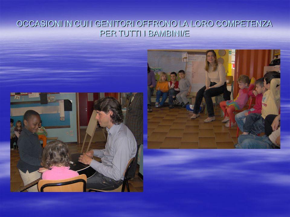 OCCASIONI IN CUI I GENITORI OFFRONO LA LORO COMPETENZA PER TUTTI I BAMBINI/E