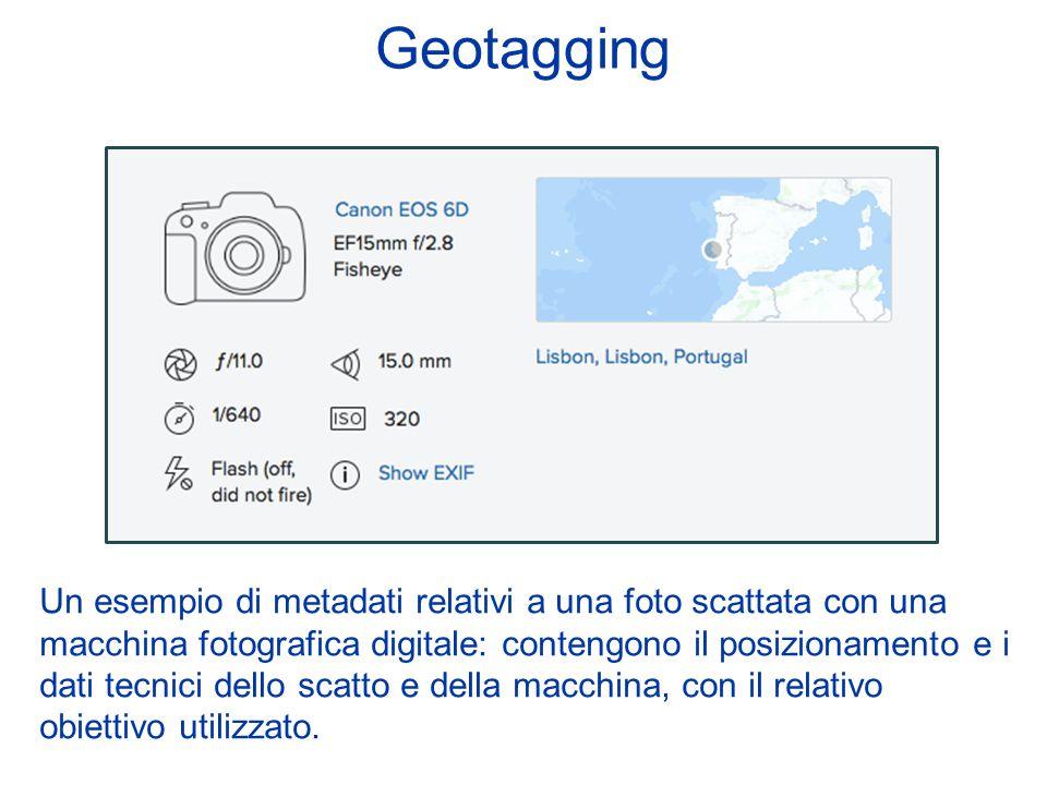 Geotagging Un esempio di metadati relativi a una foto scattata con una macchina fotografica digitale: contengono il posizionamento e i dati tecnici de
