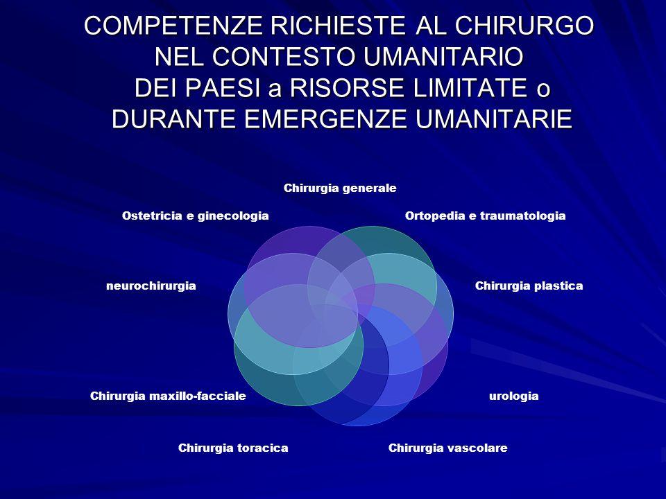 COMPETENZE RICHIESTE AL CHIRURGO NEL CONTESTO UMANITARIO DEI PAESI a RISORSE LIMITATE o DURANTE EMERGENZE UMANITARIE