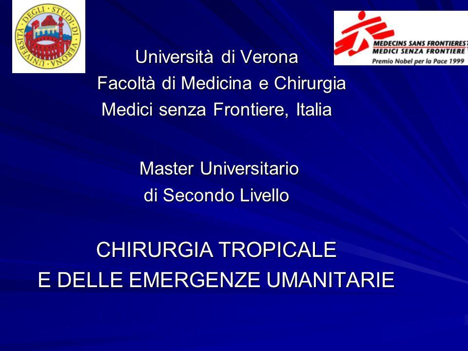 Università di Verona Facoltà di Medicina e Chirurgia Facoltà di Medicina e Chirurgia Medici senza Frontiere, Italia Master Universitario Master Univer