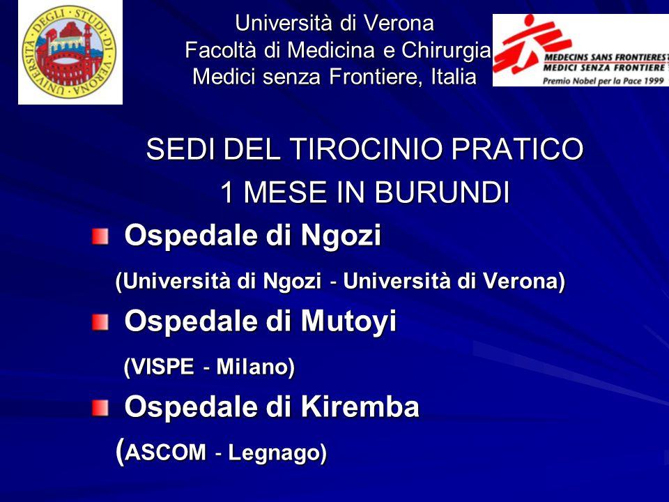 Università di Verona Facoltà di Medicina e Chirurgia Medici senza Frontiere, Italia SEDI DEL TIROCINIO PRATICO 1 MESE IN BURUNDI Ospedale di Ngozi Osp
