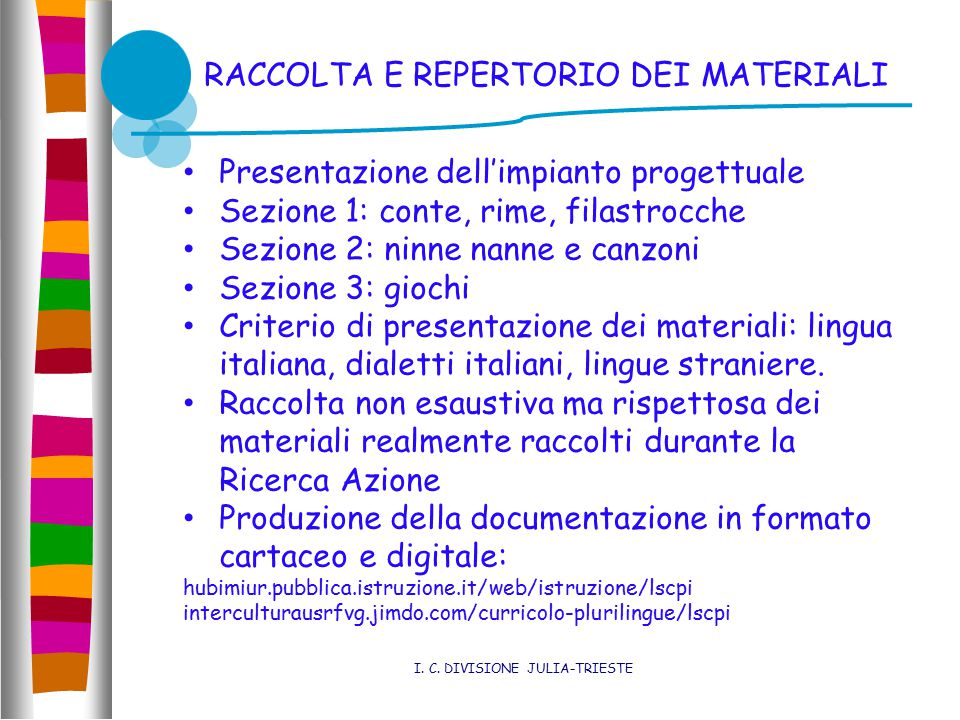 RACCOLTA E REPERTORIO DEI MATERIALI I. C.