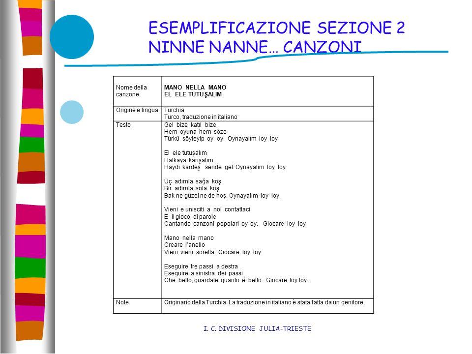 ESEMPLIFICAZIONE SEZIONE 2 NINNE NANNE… CANZONI I.
