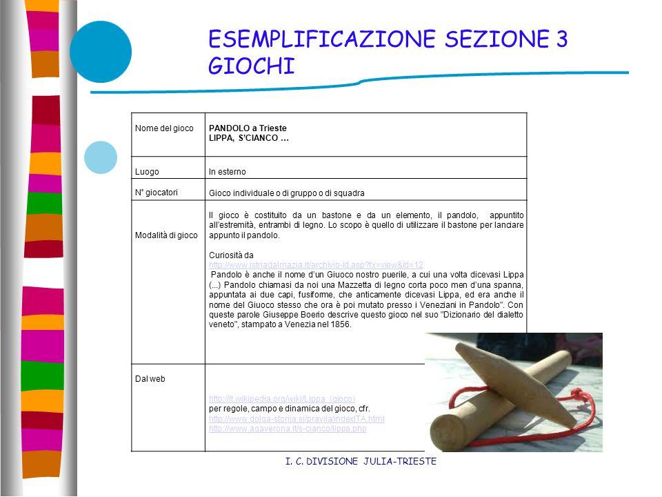 ESEMPLIFICAZIONE SEZIONE 3 GIOCHI I. C.