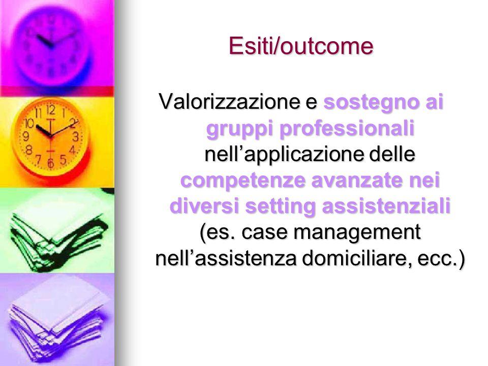 Esiti/outcome Valorizzazione e sostegno ai gruppi professionali nell'applicazione delle competenze avanzate nei diversi setting assistenziali (es. cas