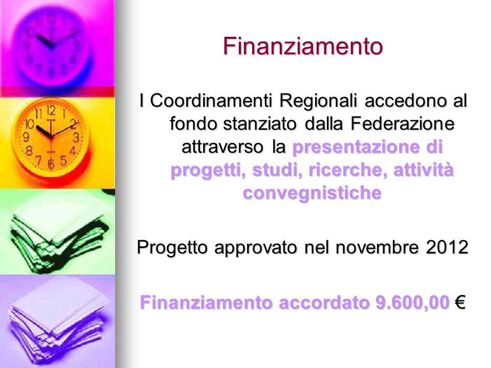 Finanziamento I Coordinamenti Regionali accedono al fondo stanziato dalla Federazione attraverso la presentazione di progetti, studi, ricerche, attività convegnistiche Progetto approvato nel novembre 2012 Finanziamento accordato 9.600,00 €