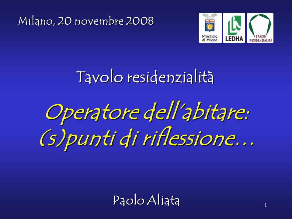 1 Operatore dell'abitare: (s)punti di riflessione… Paolo Aliata Milano, 20 novembre 2008 Tavolo residenzialità