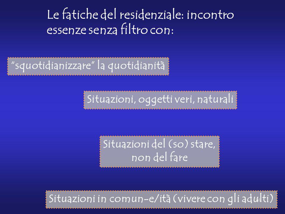 14 Le fatiche del residenziale: incontro essenze senza filtro con: Situazioni, oggetti veri, naturali Situazioni del (so) stare, non del fare Situazio