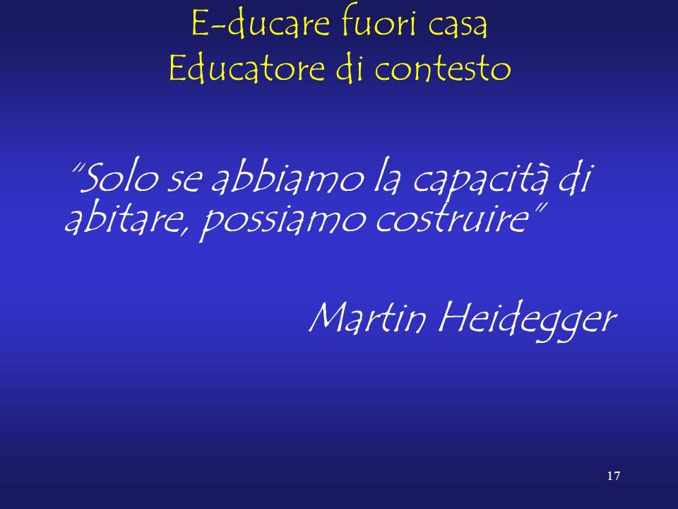 17 E-ducare fuori casa Educatore di contesto Solo se abbiamo la capacità di abitare, possiamo costruire Martin Heidegger