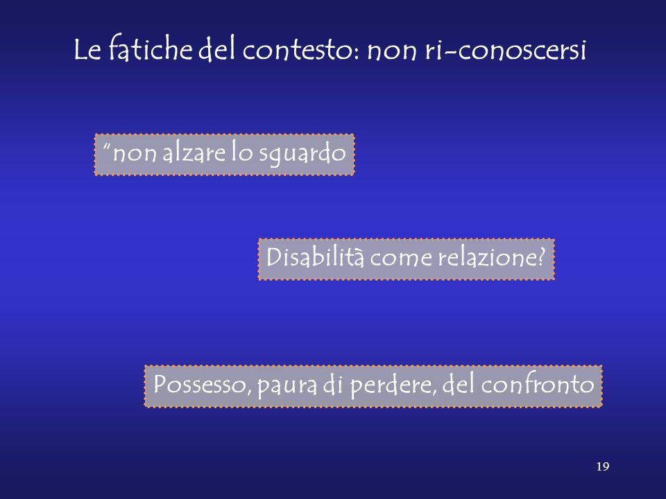 """19 Le fatiche del contesto: non ri-conoscersi Disabilità come relazione? Possesso, paura di perdere, del confronto """"non alzare lo sguardo"""