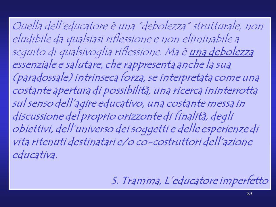 23 Quella dell'educatore è una debolezza strutturale, non eludibile da qualsiasi riflessione e non eliminabile a seguito di qualsivoglia riflessione.