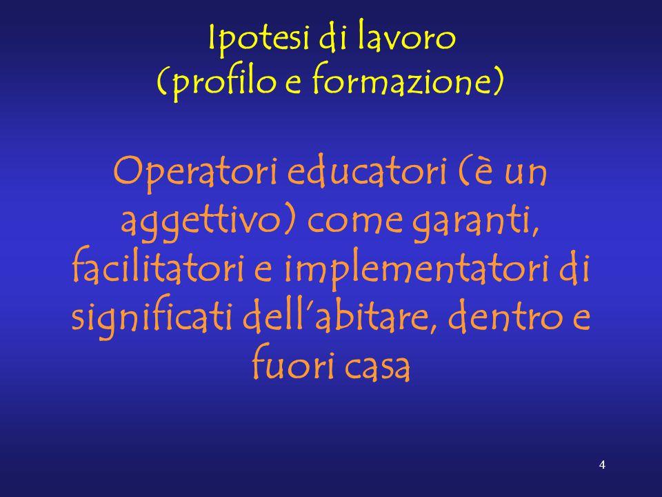 4 Ipotesi di lavoro (profilo e formazione) Operatori educatori (è un aggettivo) come garanti, facilitatori e implementatori di significati dell'abitare, dentro e fuori casa
