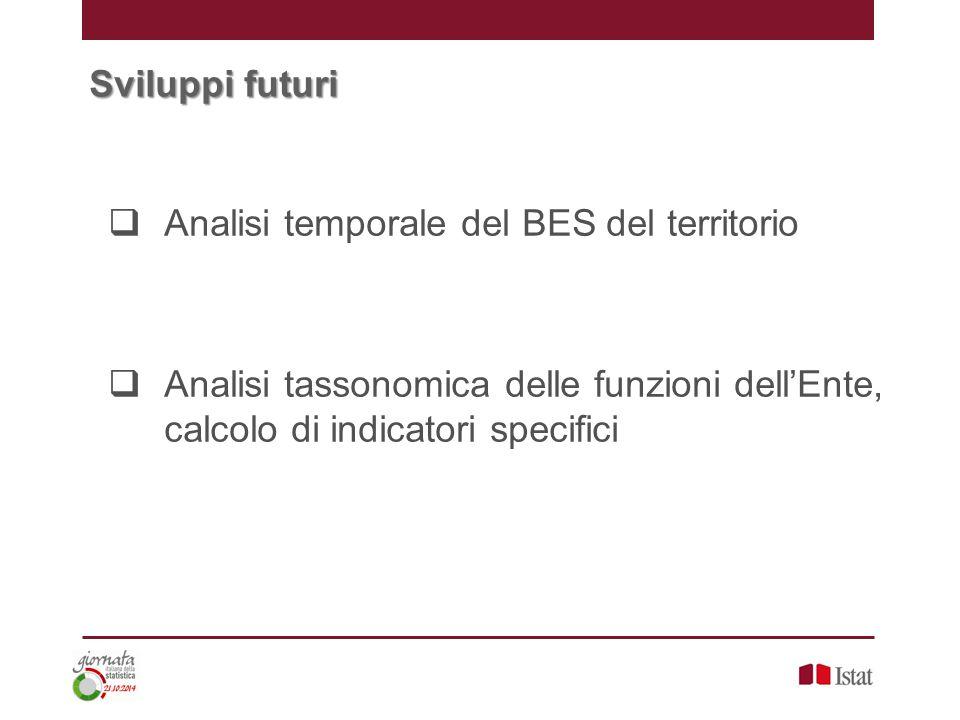 Sviluppi futuri  Analisi temporale del BES del territorio  Analisi tassonomica delle funzioni dell'Ente, calcolo di indicatori specifici