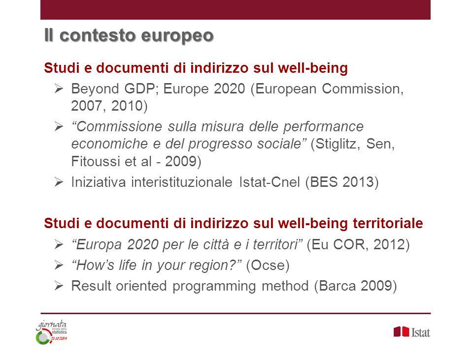 """Il contesto europeo Studi e documenti di indirizzo sul well-being  Beyond GDP; Europe 2020 (European Commission, 2007, 2010)  """"Commissione sulla mis"""