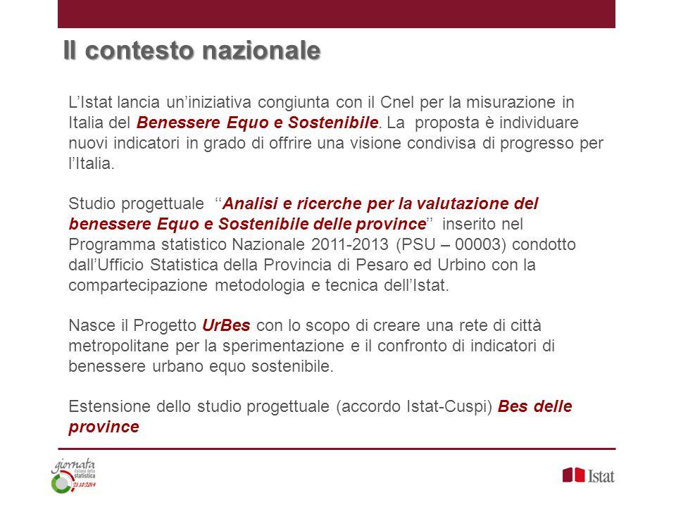 Il contesto nazionale L'Istat lancia un'iniziativa congiunta con il Cnel per la misurazione in Italia del Benessere Equo e Sostenibile.