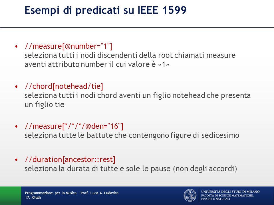 Esempi di predicati su IEEE 1599 //measure[@number=