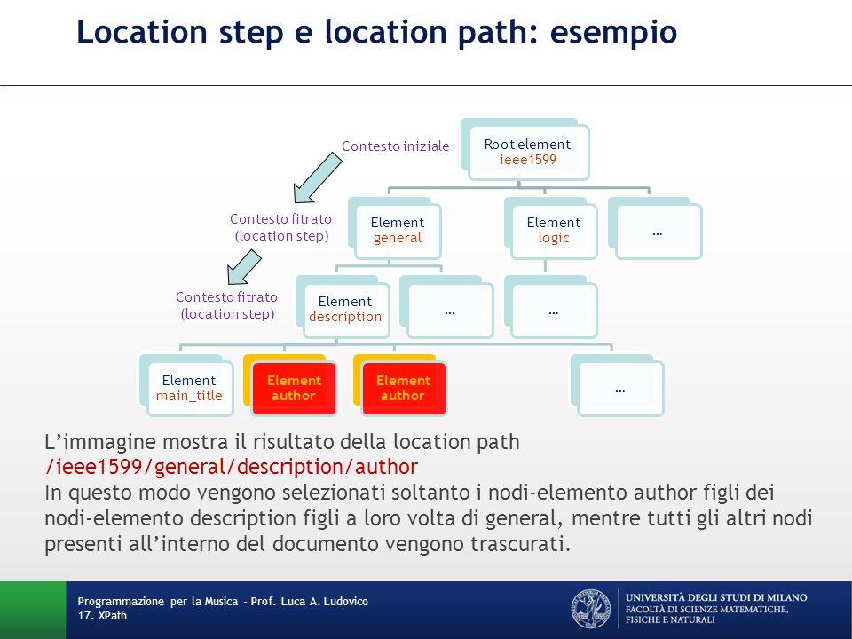 Location step e location path: esempio L'immagine mostra il risultato della location path /ieee1599/general/description/author In questo modo vengono